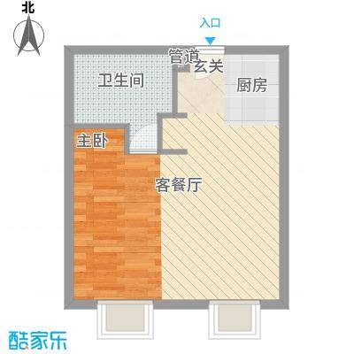 半山半水50.60㎡半山半水户型图D户型1室1厅1卫1厨户型1室1厅1卫1厨