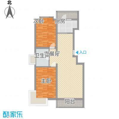 长乐湾107.10㎡长乐湾户型图2号楼2室2厅1卫1厨户型2室2厅1卫1厨