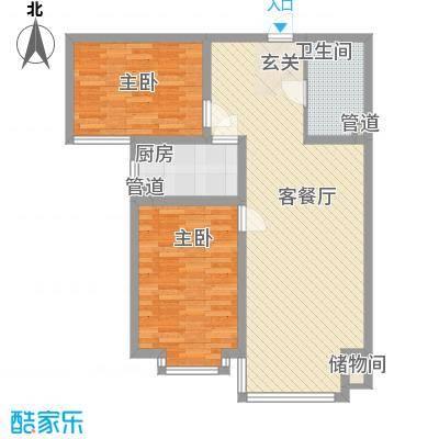 上林湾95.00㎡上林湾户型图24#-4户型2室2厅1卫1厨户型2室2厅1卫1厨