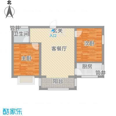 水岸国际77.94㎡水岸国际户型图B户型2室1厅1卫1厨户型2室1厅1卫1厨
