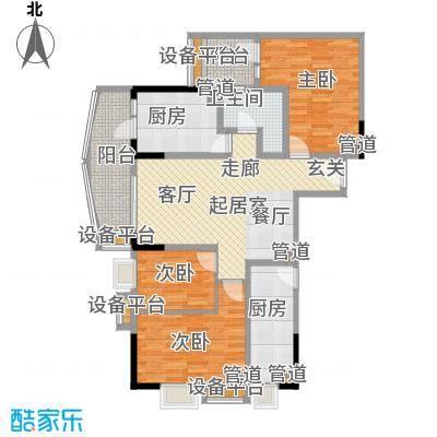 德雅轩102.58㎡西塔03单元户型3室2厅1卫1厨