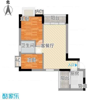 天伦东时区65.32㎡天伦东时区户型图B2栋2-18层042室2厅1卫1厨户型2室2厅1卫1厨