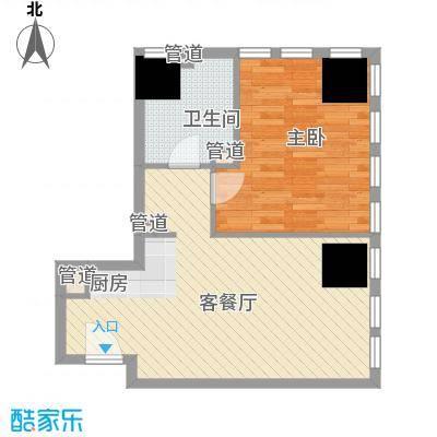 奈伦国际奈伦国际户型图D座E户型1室1厅1卫1厨户型1室1厅1卫1厨