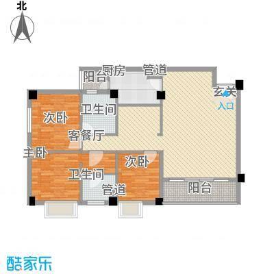 明月东山127.00㎡明月东山户型图四号-中式样板间3室2厅1卫1厨户型3室2厅1卫1厨