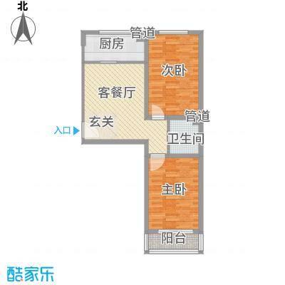 金海花园85.00㎡金海花园户型图一期5号楼四层B户型2室1厅1卫户型2室1厅1卫