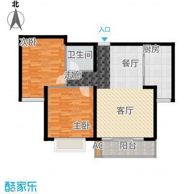 万锦花语岸86.00㎡3号楼A户型2室2厅1卫1厨