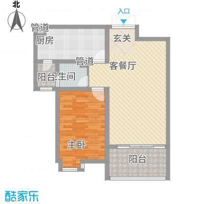 富丽城A户型1室2厅1卫1厨