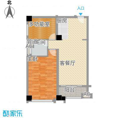 恒大雅苑户型图1号公寓B户型 1室1厅1卫1厨