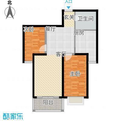 澳华城市花园户型图18号楼D户型 2室2厅1卫1厨