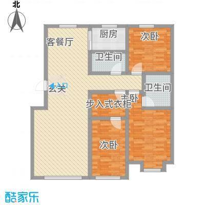博雅小镇户型图F户型 3室2厅2卫1厨