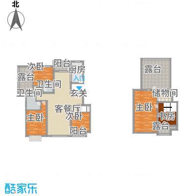 亿利傲东国际户型图E6/E7 5室2厅2卫1厨
