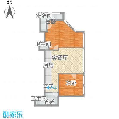 白云绿地中心114.00㎡G户型2室1厅1卫1厨