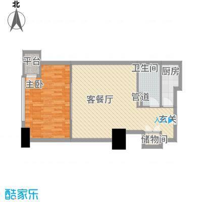 海亮广场一期81.82㎡海亮广场一期户型图E栋18户型1室1厅1卫1厨户型1室1厅1卫1厨