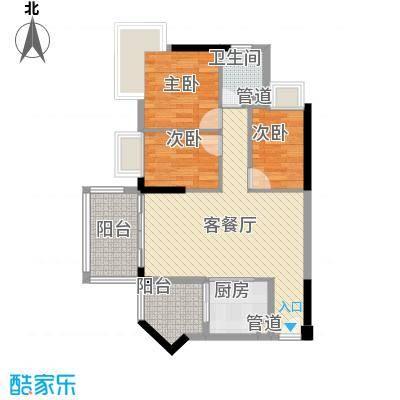 美林轩逸时光户型图3室2厅户型图 3室2厅1卫1厨