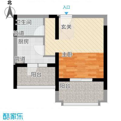 文华阁户型图3#B户型 1室1厅1卫1厨