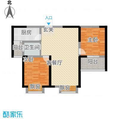 文华阁户型图4#楼F户型 2室2厅1卫1厨