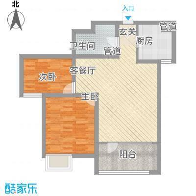 亿科公元2010户型图平层c户型 2室2厅1卫1厨