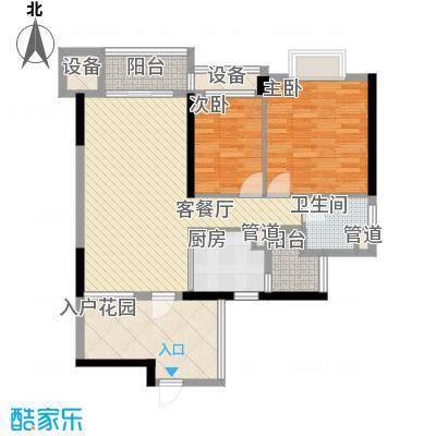 翡翠绿洲龙翔台户型图2室2厅户型图 2室2厅1卫1厨