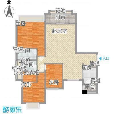 锦绣银湾别墅户型图3座3梯02单位 3室2厅2卫1厨