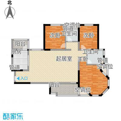 碧桂园滨湖城户型图C10户型 3室2厅2卫1厨