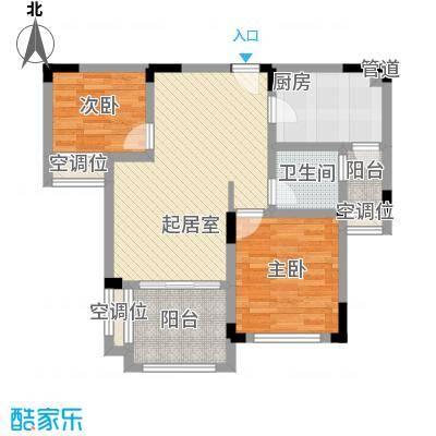 碧桂园滨湖城户型图C16-B户型 2室2厅1卫1厨