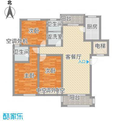 金水湾花园143.00㎡金水湾花园户型图围院房型a3室2厅2卫1厨户型3室2厅2卫1厨