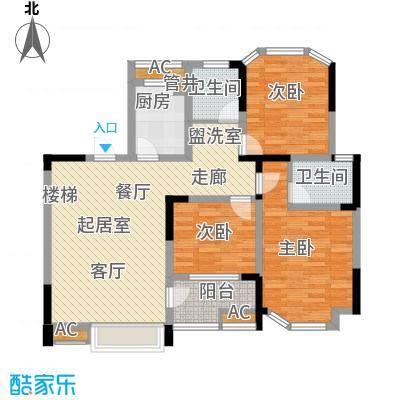 """御景城114.65㎡御景城户型图H2""""3室2厅2卫1厨户型3室2厅2卫1厨"""