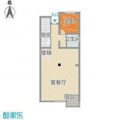 桥华世纪村一期5号楼三层B户型1室2厅1卫1厨