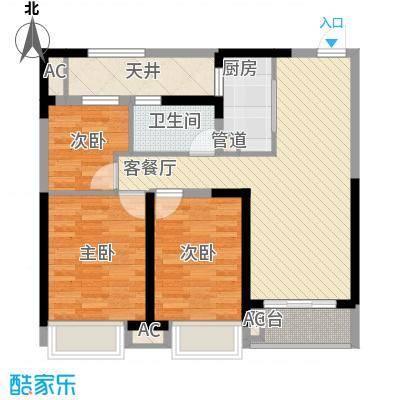 融科城95.00㎡融科城户型图一期B1户型3室2厅1卫1厨户型3室2厅1卫1厨