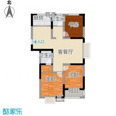 尚泽时代广场114.30㎡尚泽时代广场户型图C43室2厅2卫1厨户型3室2厅2卫1厨