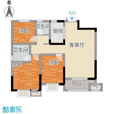 尚泽时代广场110.00㎡尚泽时代广场户型图B23室2厅2卫1厨户型3室2厅2卫1厨