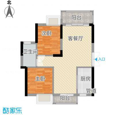 山畔阳光80.85㎡山畔阳光户型图D15栋04单元2室2厅1卫1厨户型2室2厅1卫1厨