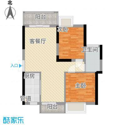山畔阳光80.85㎡山畔阳光户型图D14栋02单元2室2厅1卫1厨户型2室2厅1卫1厨