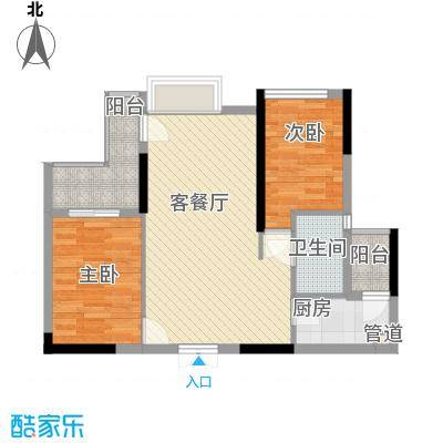 山畔阳光81.10㎡山畔阳光户型图D14栋03单元2室2厅1卫1厨户型2室2厅1卫1厨