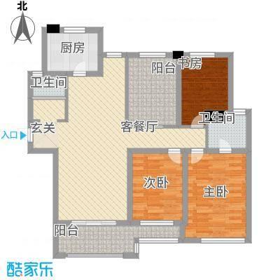 旭辉中央宫园117.00㎡户型3室2厅1卫1厨
