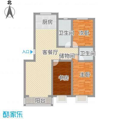 水岸茗苑户型图18号楼 3室2厅2卫1厨