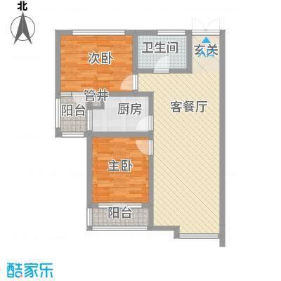 水岸茗苑户型图A3户型 2室2厅1卫