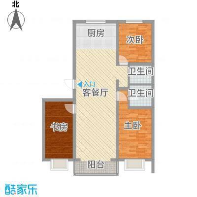 水岸茗苑户型图21号楼 3室2厅2卫1厨