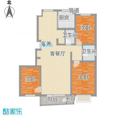 亲亲我家136.50㎡一期4号楼八层B户型3室2厅2卫1厨