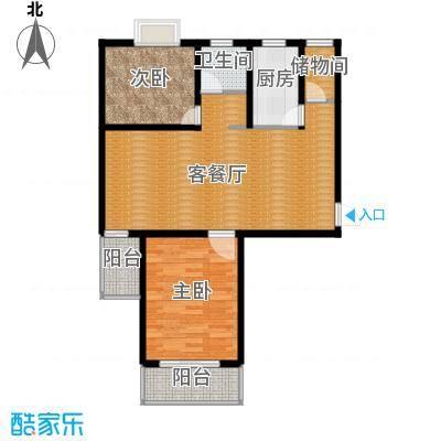 滨湖品阁76.86㎡7-2户型2室1厅1卫1厨