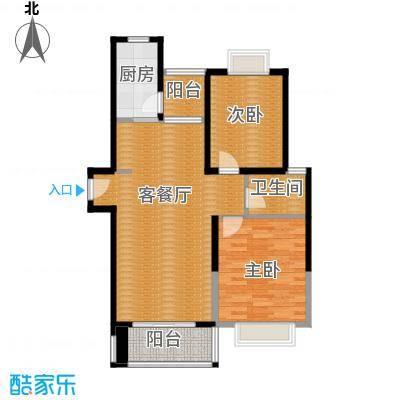 滨湖品阁76.39㎡2007111116375395588户型2室1厅1卫1厨