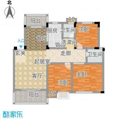 幸福大街126.67㎡幸福大街户型图d13室2厅2卫1厨户型3室2厅2卫1厨