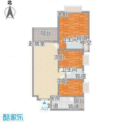锦绣银湾别墅户型图3座2梯04单位 3室2厅2卫1厨