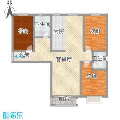 水岸茗苑户型图A2户型 3室2厅2卫
