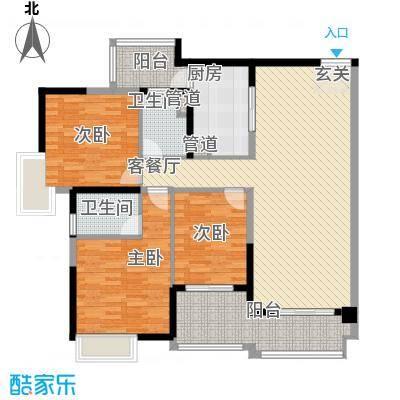 中海�晖华庭133.73㎡中海�晖华庭户型图A8栋4-28层02单位3室2厅2卫1厨户型3室2厅2卫1厨