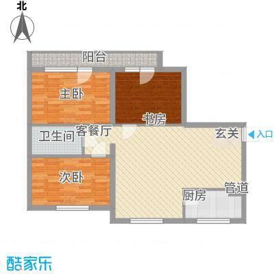 兴光A9102.00㎡一期6号楼四层C户型2室2厅1卫1厨
