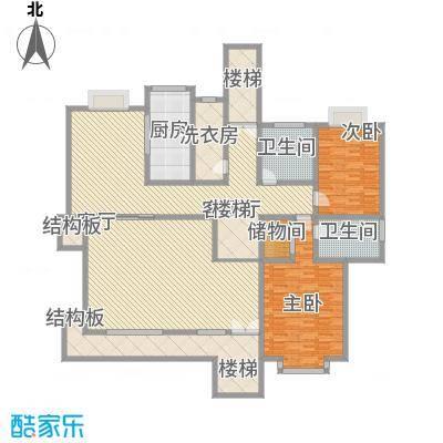 琦琳北辰单别墅首层户型2室2厅2卫1厨