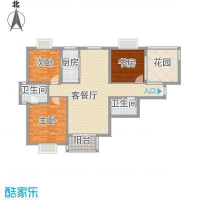 翠屏湾2期兰卡威小镇户型图L户型 3室2厅2卫1厨