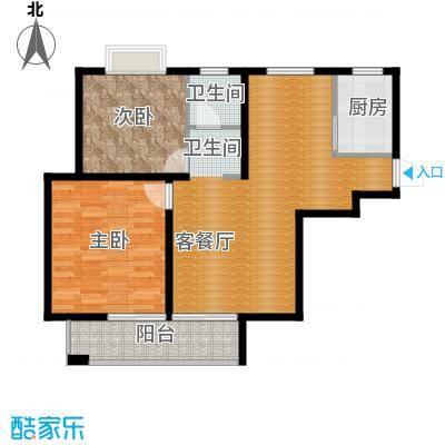 滨湖品阁77.94㎡7-3户型2室1厅1卫1厨