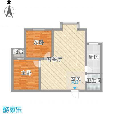 百花家园户型图5#3 2室2厅1卫1厨